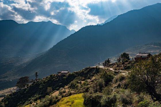 mountains, farming, houses