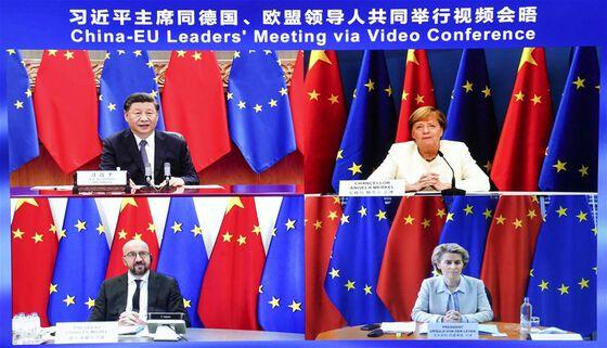 Meeting, China, EU, flags