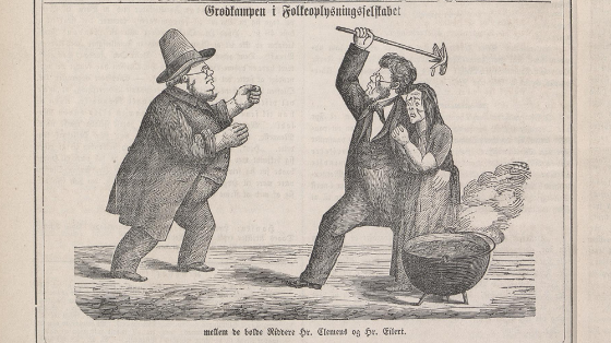 The porridge feud illustrated in Vikingen, 1865. Screen shot from The National Library of Norway.